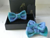 Blue Plaid Harris Tweed Bow Tie